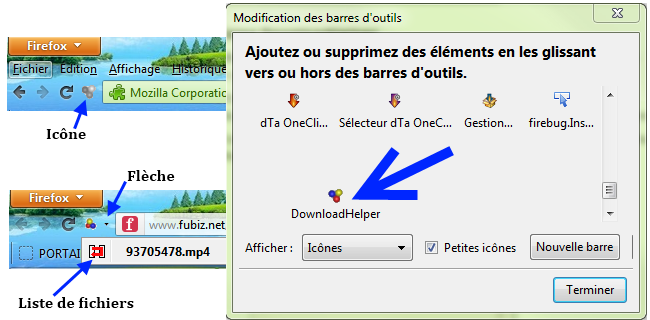Captures d'écran Video DownloadHelper