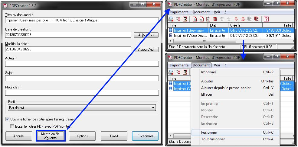Captures d'écran PDFcreator