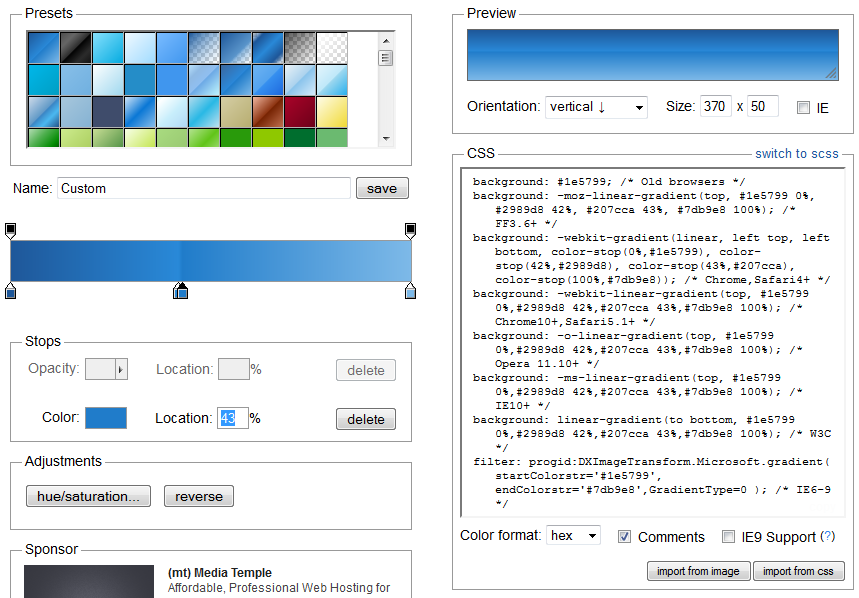 Aperçu du CSS Gradient Generator