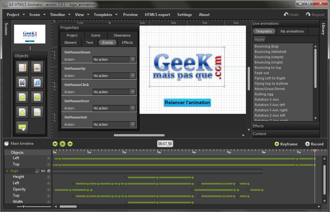 A5 HTML5 Animator : Présentation de l'interface