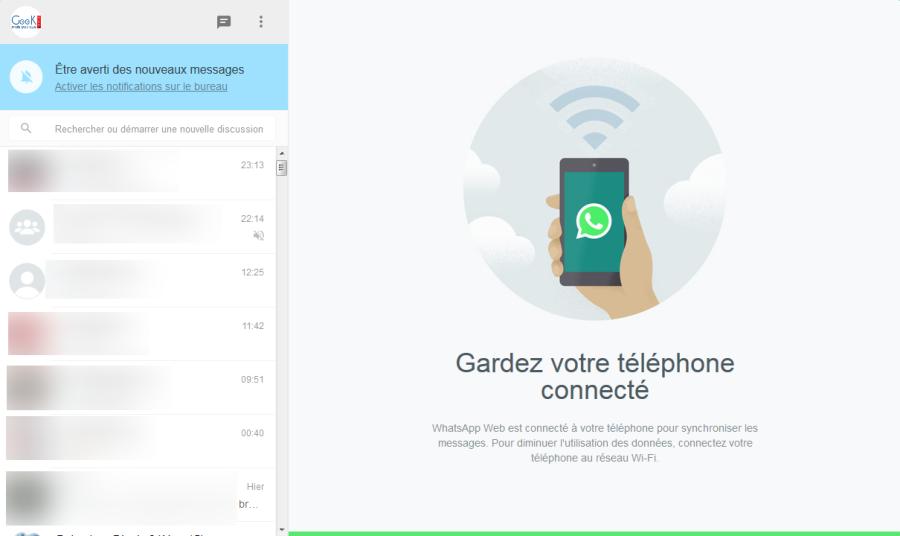 Accès aux conversations via WhatsApp Web dans le navigateur