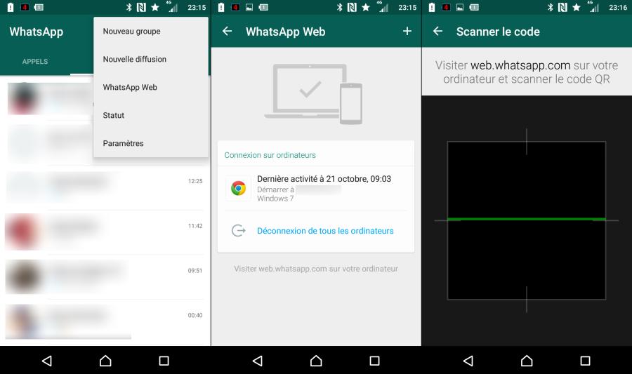 Accès à WhatsApp Web depuis l'application Android