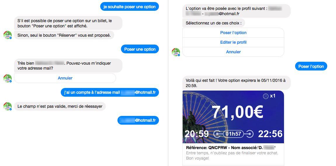 OUIbot : reservation et option