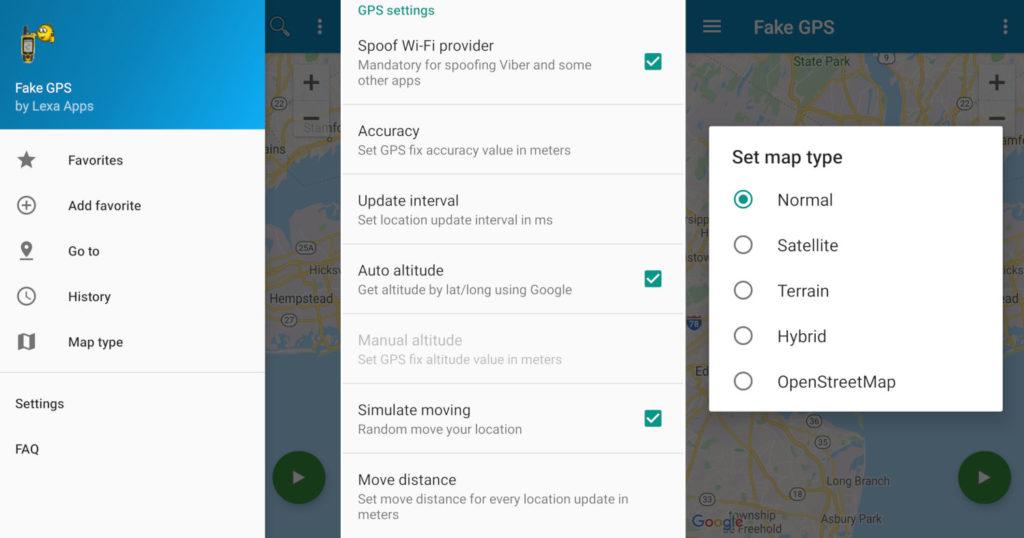 Fonctionnalités de l'appli Fake GPS