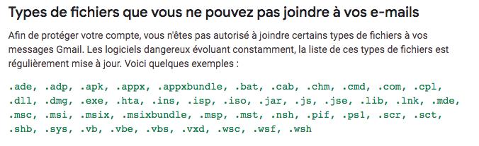 Types de fichiers bloqués dans Gmail (zip, exe et autres)
