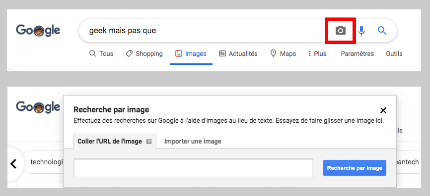 recherche image inversée - google