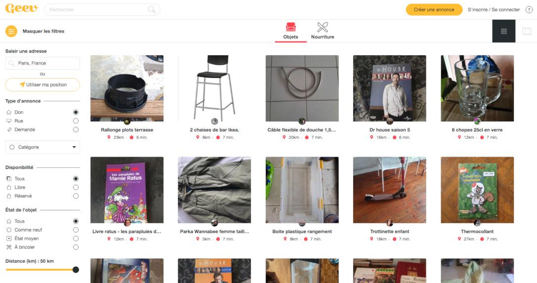 Geev, la plateforme Web pour donner et récupérer gratuitement des objets ou de la nourriture