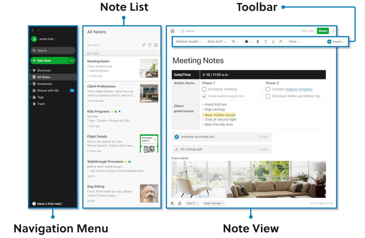 Evernote : interface de prise de notes