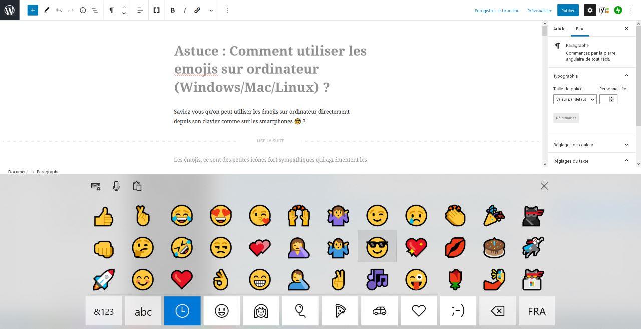 insertion emoji sur ordinateur