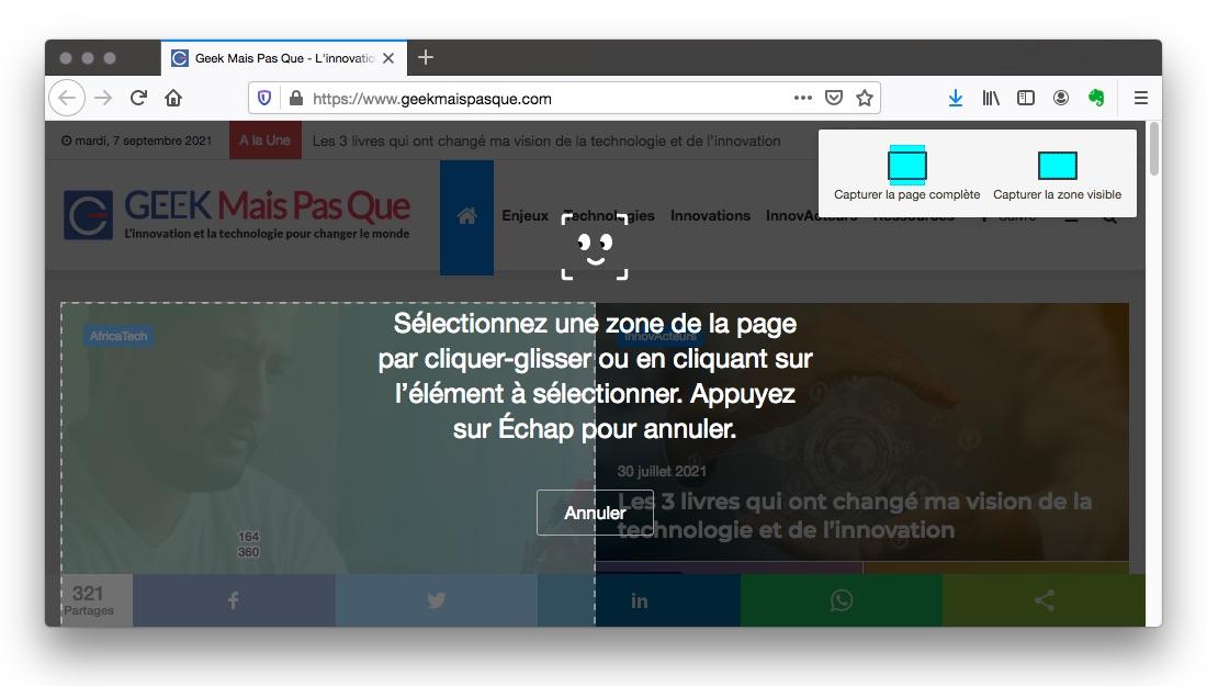 Capture écran page web